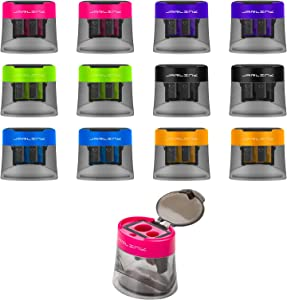JARLINK 12 Pack Manual Pencil Sharpener, Dual Holes Compact Sharpener with Lid for No.2/Colored/Art Pencils, Portable in School Office Home