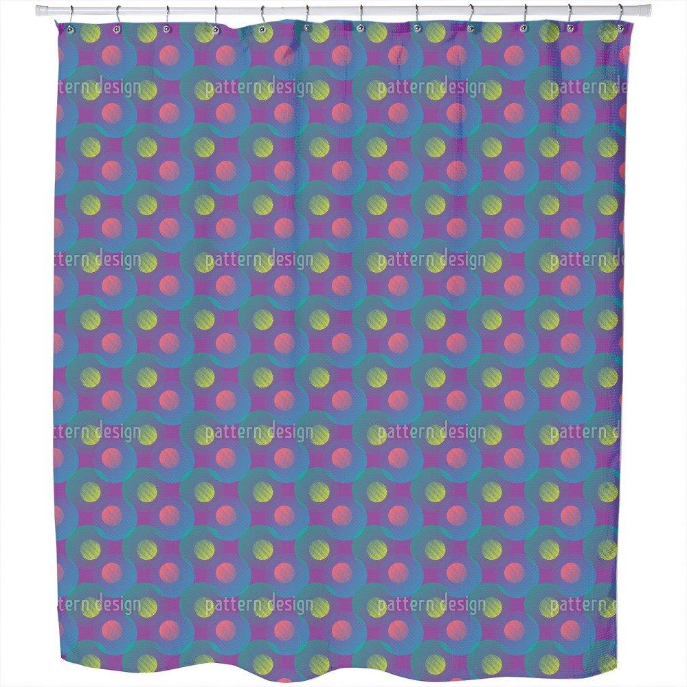 Uneekee Geometric Wave Game Shower Curtain: Large Waterproof Luxurious Bathroom Design Woven Fabric