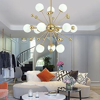 12 Licht Sputnik Kronleuchter Beleuchtung, Golden Modern Pendelleuchte Gold  Mid Century Deckenleuchte Für Esszimmer