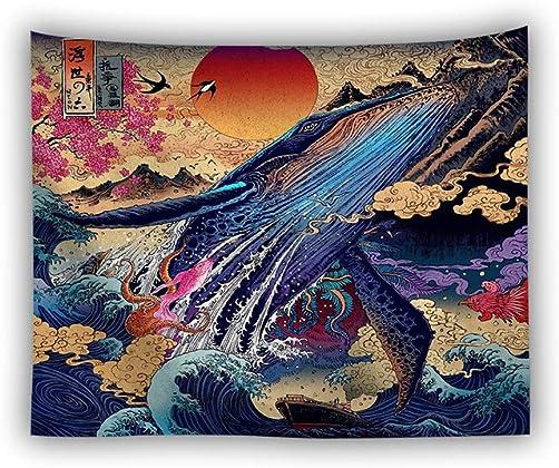 Sunnyillumine Japan Ukiyo-e Style Wall Tapestry Wall haning Beach Cover Up Tunic Room Dorm Home Decor Ukiyo-e 02