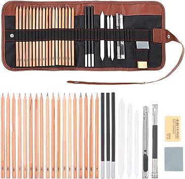 29Pcs Professional Drawing Artist Kit Pencils Eraser Sketch Charcoal Art /& Bag