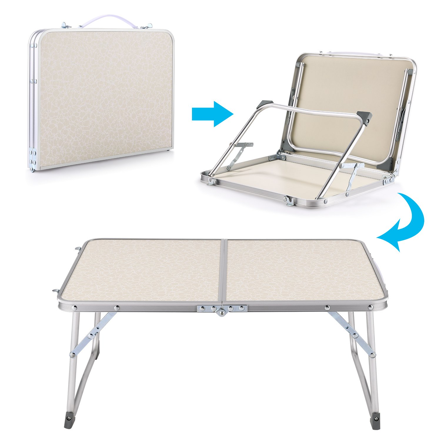 Hindom Aluminum Portable Folding Utility Table with Carrying Handle Portable Patio Table for Garden Party Camping Picnic(US Stock) (White)