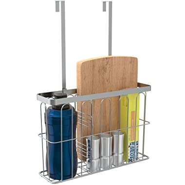 ULFR Over the Cabinet Door Kitchen Storage Organizer Basket, Space Saving Drawer Grid Holder for Cleaning Supplies, Bottles, Board, Grey Finish with an Easy to Install Divider