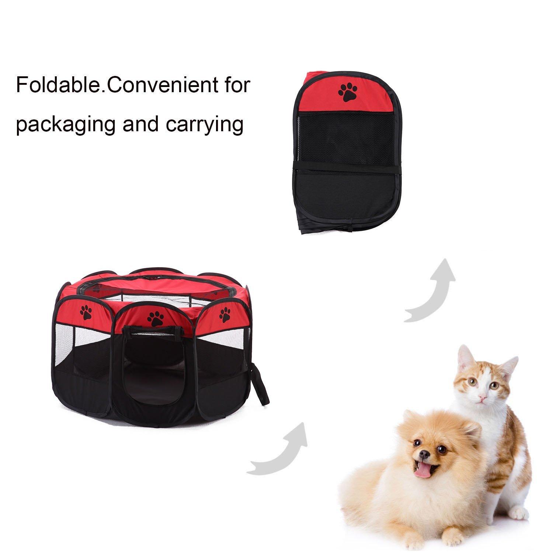 Parque para mascotas Bworppy: tienda de campaña plegable, resistente al agua, con pantalla extraíble - Corral para perro, gato o cachorros.