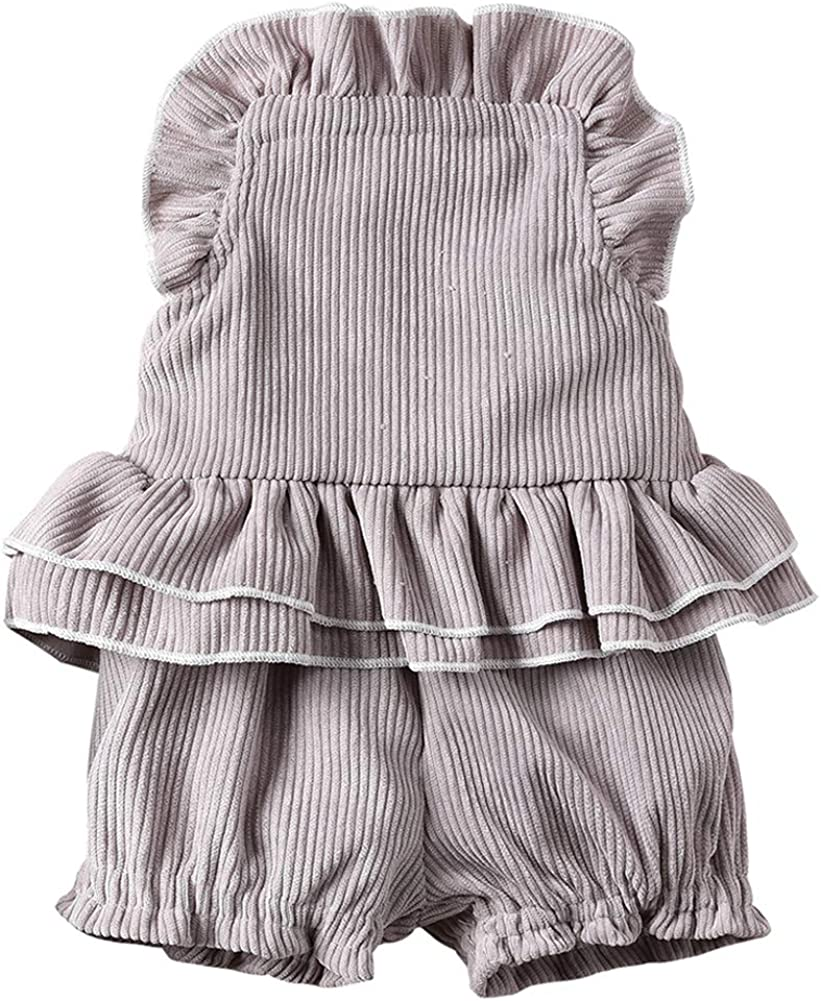Newborn Baby Girls Corduroy Halter Blackless Ruffle Top and Shorts Outfit Set