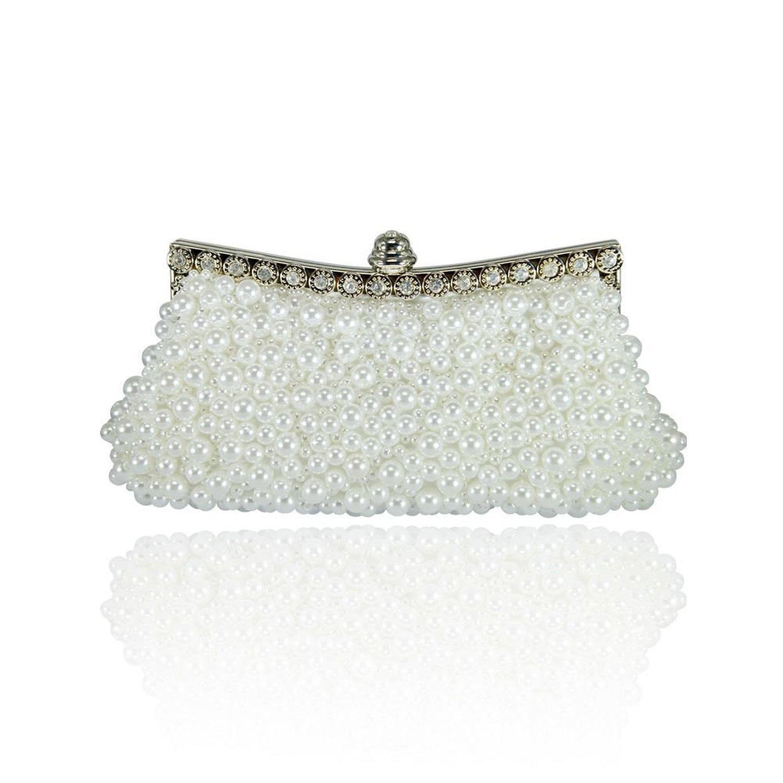 New Elegant Wedding Handbag Pearl Beads Clutch Evening Purse Banquet Party Clutch Bag Color White Karazan