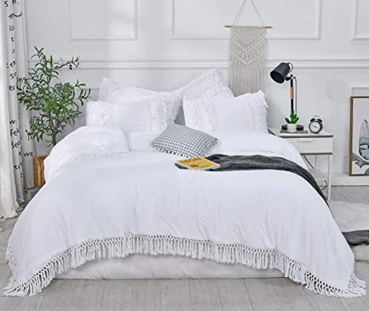 Amazon.com: SexyTown  White Ruffle Tassel Comforter Set,Queen Boho