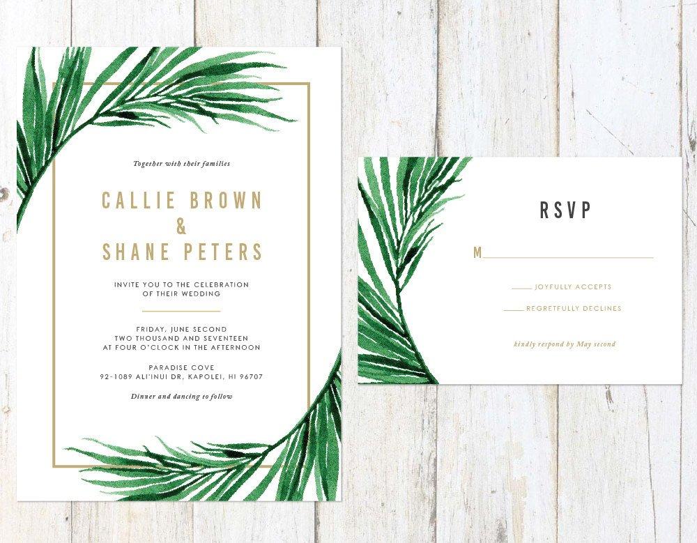 Tropical Wedding Invitation, Palm Leaves Wedding Invitation, Gold Palm Tree Invitation, Destination Invitation