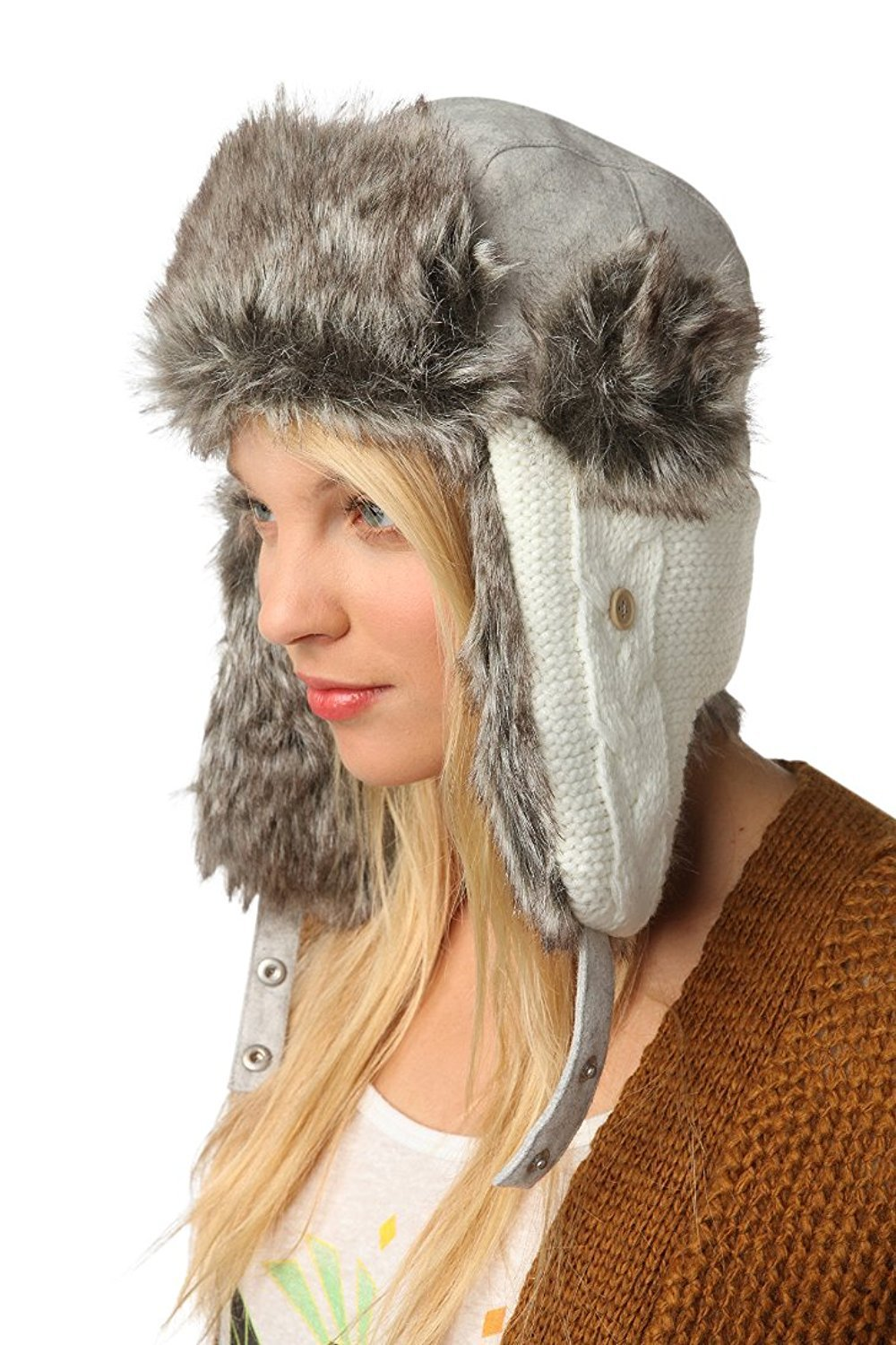 Urban Outfitters Wool Faux Fur Comfortable Warm Cute Winter Trapper Aviator Hat Knitted White/Grey Regular