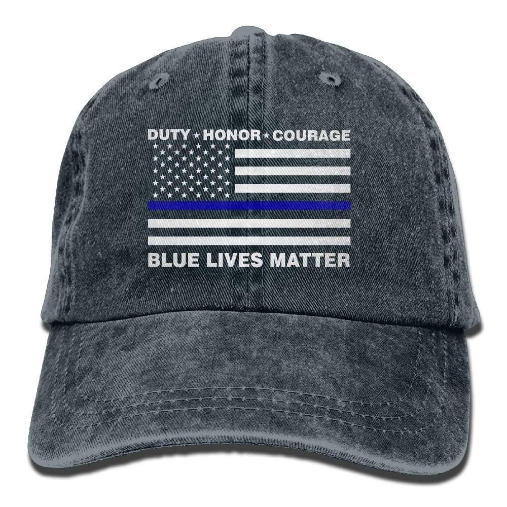 hanbaozhou Mens Blue Lives Matter Police Flag Vintage Cotton Baseball Cap Washed Denim Hat