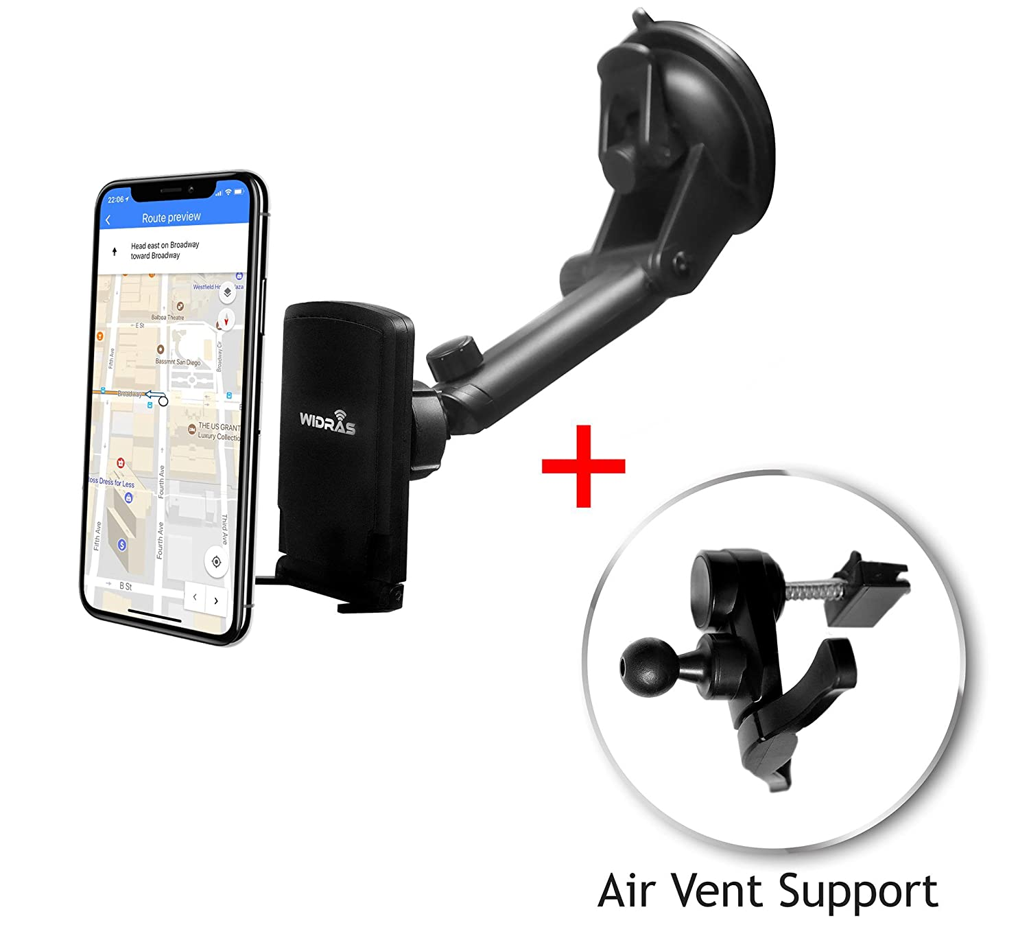Widras Windshield//Air Vent 2in1 Magnetic Car Mount Universal Phone Holder Window Cradle for Smartphone//Tablet Washable Strong Pad iPhone X 8 7 7 6 X 5 5s Plus Galaxy S8 S7 S6 S5 Edge Note Nexus S Magnet