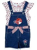 Young Hearts Toddler Girls 2 Piece Outfit Ladybug Shirt & Denim Shortalls 6X