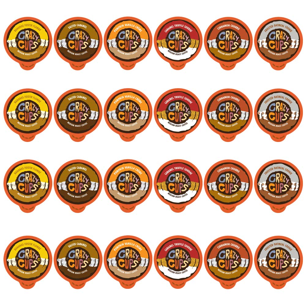 Crazy Cups Flavored Coffee Pods Variety Pack - Coffee Flavors for the Keurig K Cups Machine, Recyclable Single Serve Cups, 24 Count