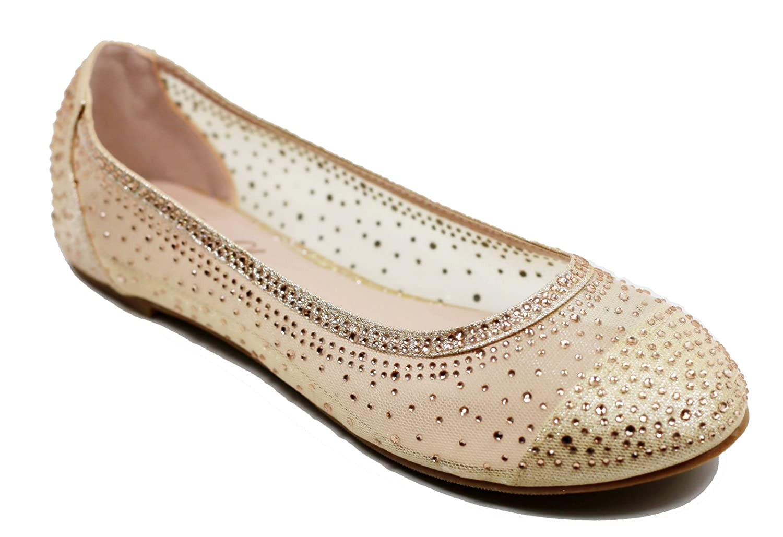 Walstar Women's Shoe Mesh Glitter Comfort Ballet Flat B07DK2S43T 7 B(M) US|Champagne