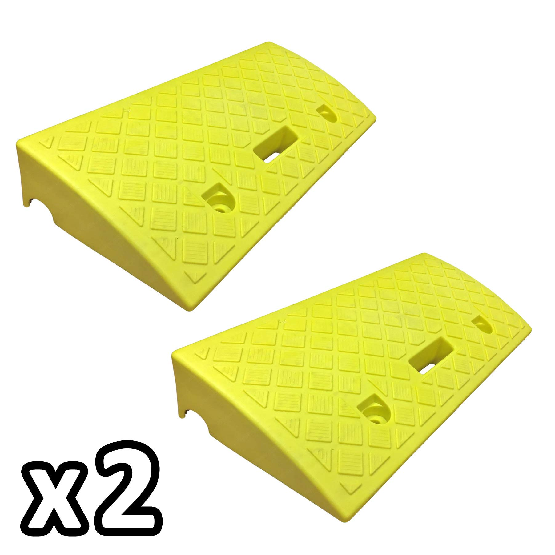 Electriduct 4'' Polypropylene Plastic Portable Pair of Curb Ramps (KIT of 2) Color: Yellow