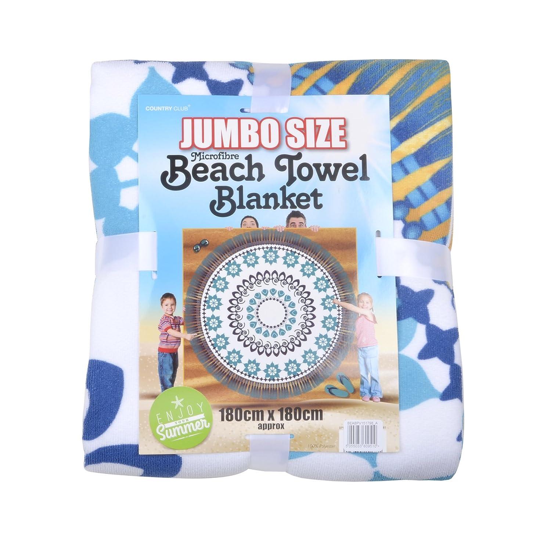 Jumbo Toalla de playa manta de microfibra (suaves y esponjosas grande patrón de XL 180 cm x 180 cm: Amazon.es: Hogar