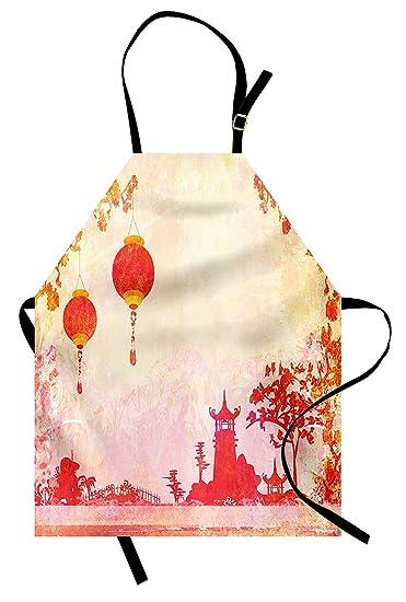 amazon com pmnadou lantern apron chinese landscape with lanterns