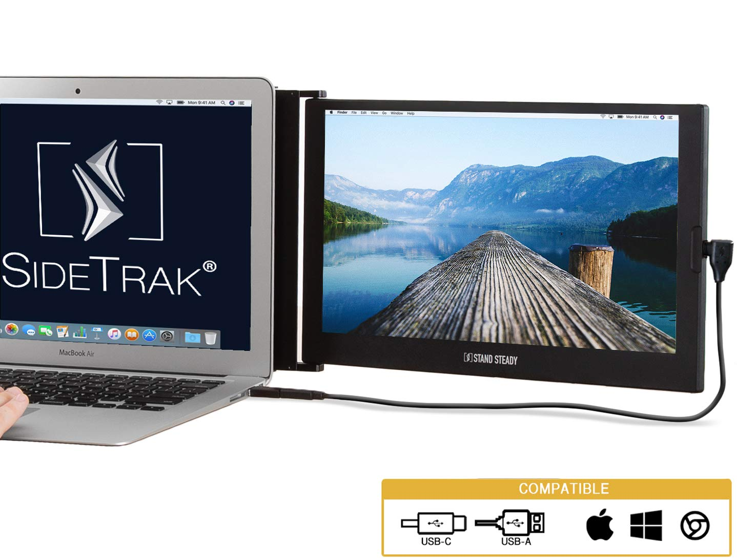"""SideTrak Portable Monitor for Laptop 12.5"""" FHD 1080P IPS Attachable Laptop Screen"""
