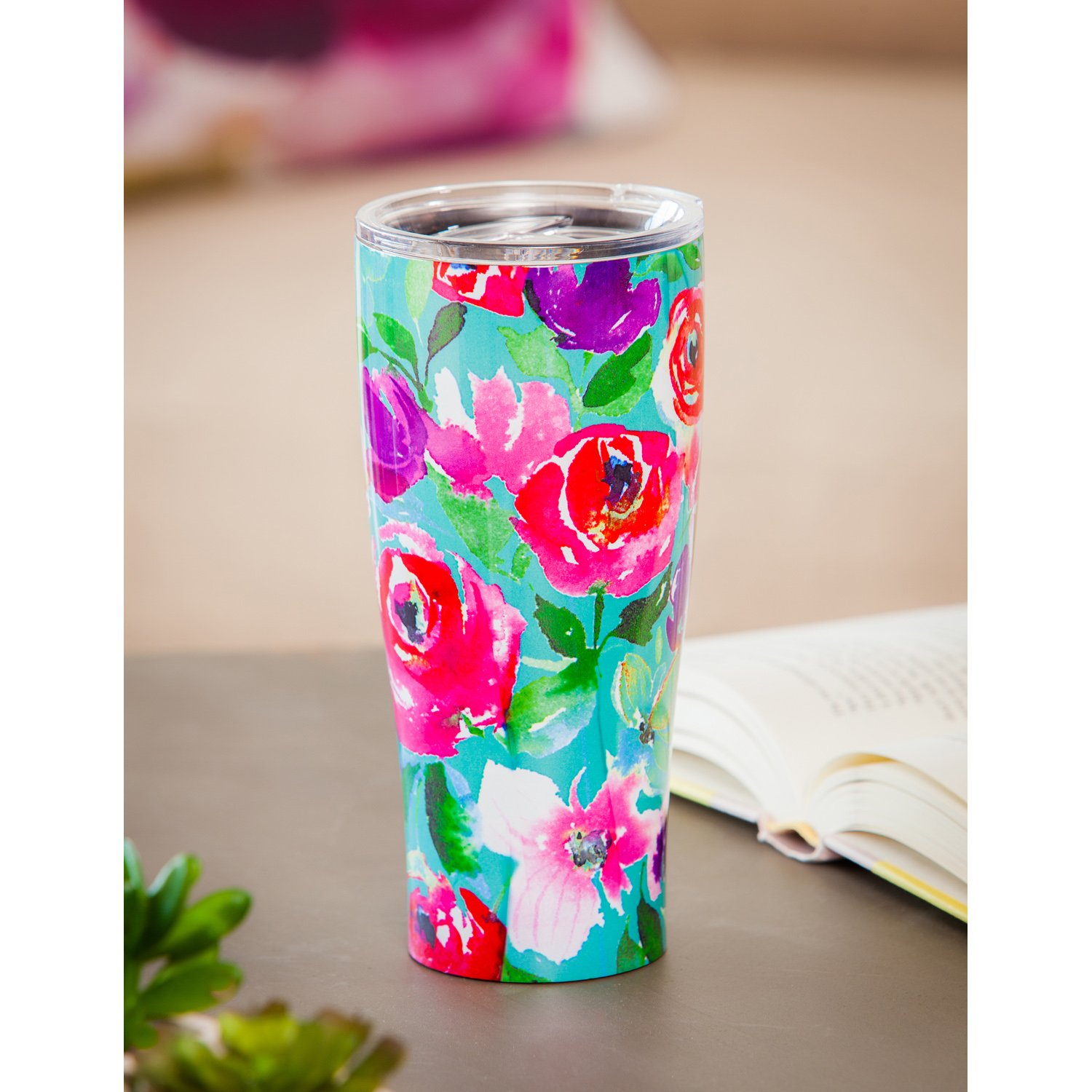Cypress Home Boho Floral Party Stainless Steel Hot Beverage Travel Cup, 17 ounces by Cypress Home (Image #4)