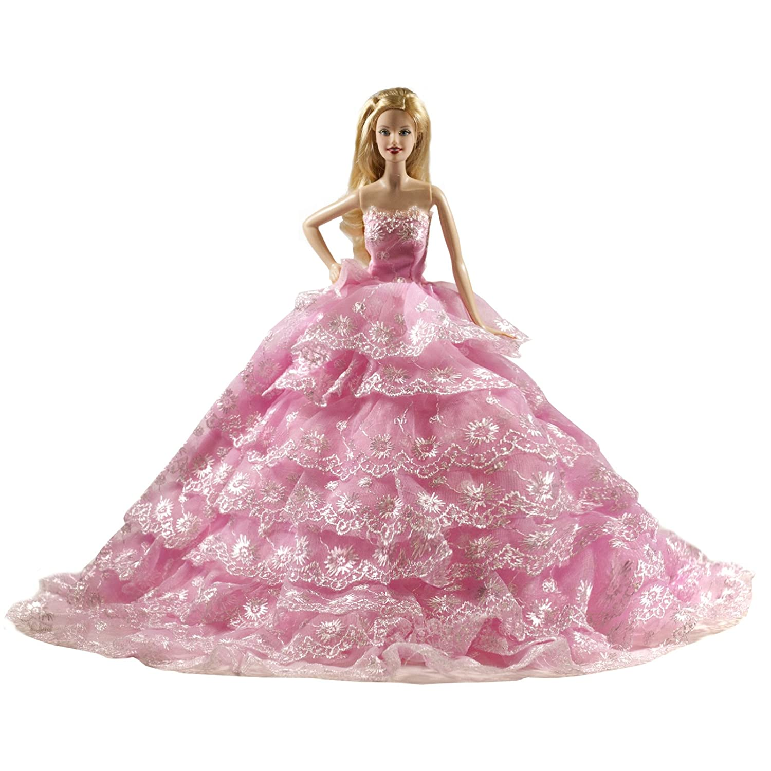 Peregrine Romantic Ball Gown Strapless Layers of Organza Pink Wedding Dress for 11.5 inches Dolls