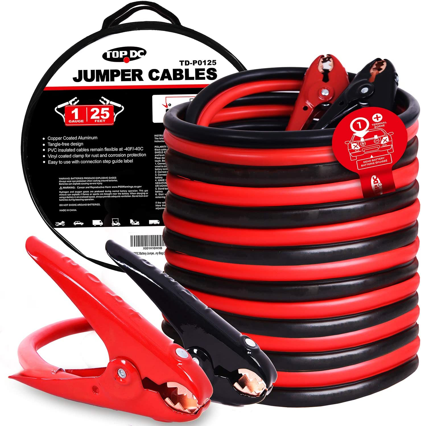 4AWG x 25Ft TOPDC Battery Jumper Cables 4 Gauge 25 Feet Heavy Duty Car Jump Start Cable with Carry Bag