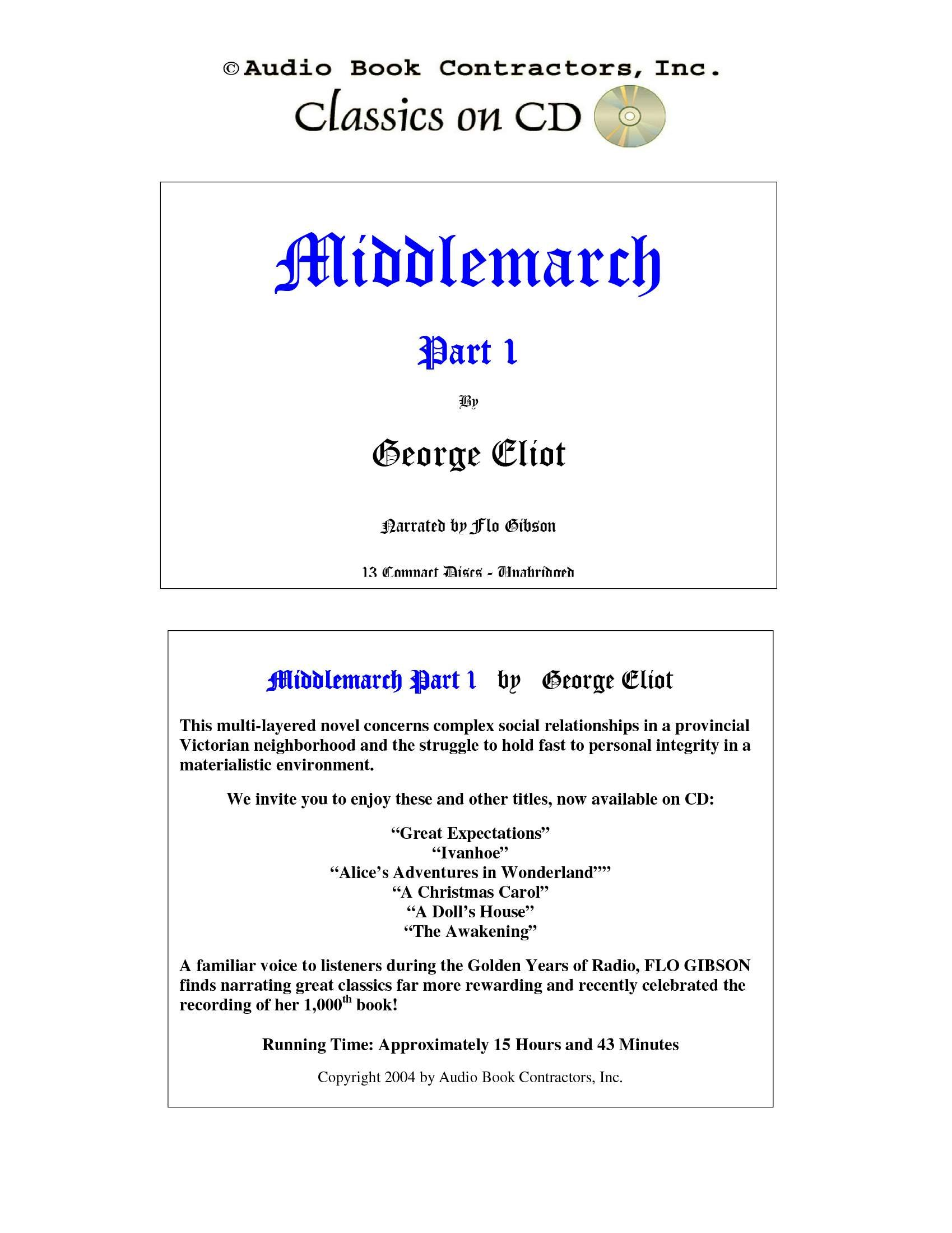 Middlemarch: Part 1 (Classic Books on CD Collection) [UNABRIDGED ...