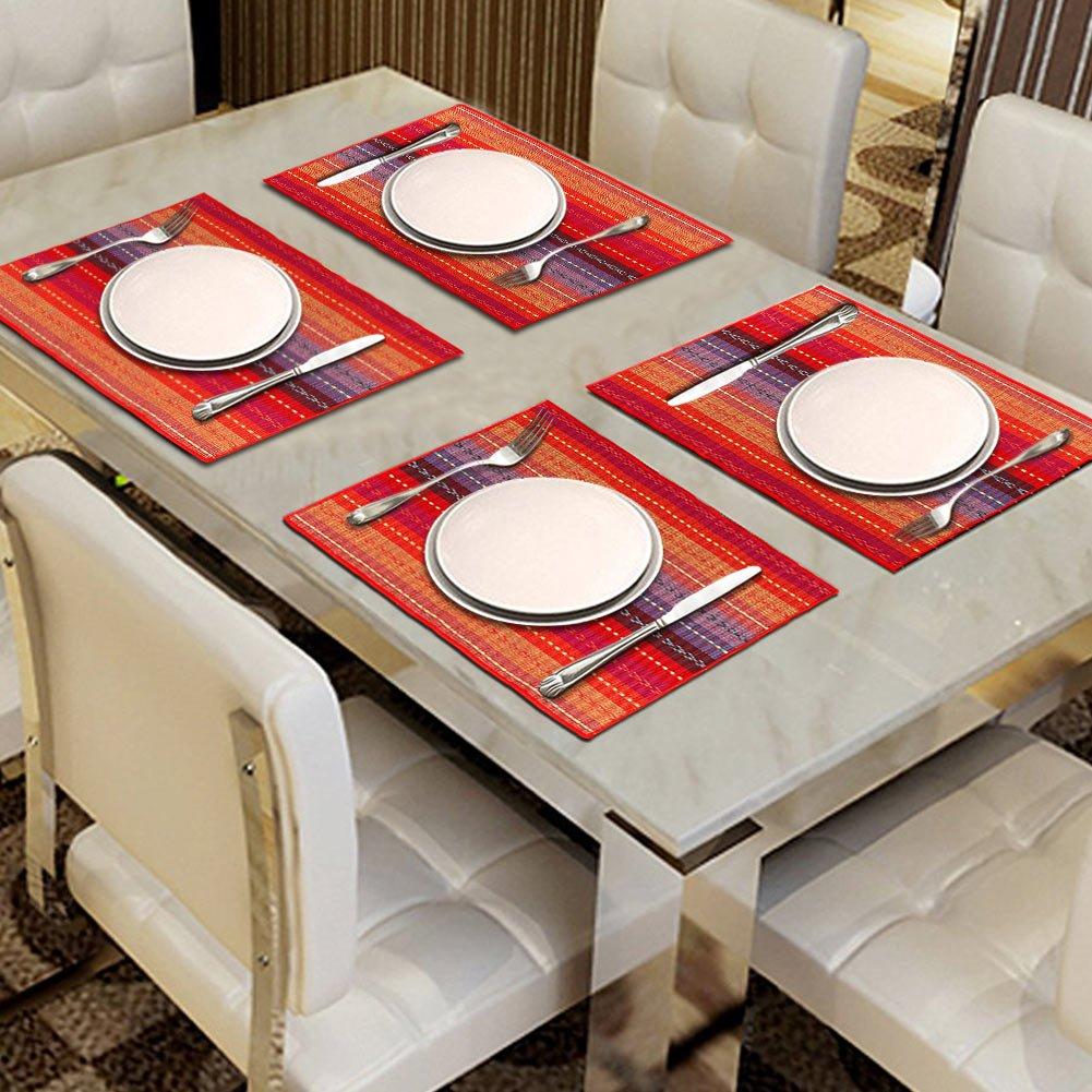 Sets de table tiss/és /à la main Lot de 6/sets de table Aerwo 100/% coton antid/érapant -Tress/és c/ôtel/és Sets de table lavables de cuisine ou de salle /à manger