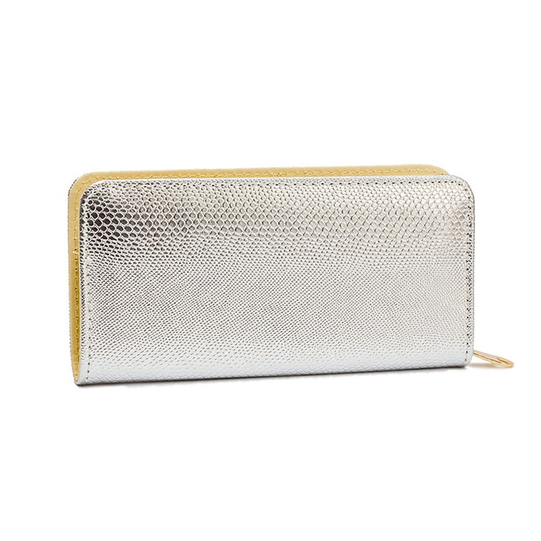 LOKOUO Purse Evening Clutch Silver Wallet Women Long Wallets And Purses Leather Crocodile Zipper Carteira Feminina Longa