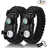 Paracord Bracelet,Bermunavy Survival Bracelets Survival Gear Kit Handy Tool with Embedded Compass Fire Starter Emergency Knife Whistle SOS Led Flash Spoke Wrench for Outdoors Hiking Fishing Hunting