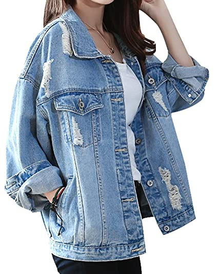 Jacket Jeans Blouson Oumizhi® Outs Denim Patches Mit Knopfverschluss Cut Damen Jacke bgYfyv76