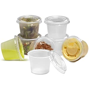 [250 Pack] 1 oz Plastic Containers with Lids - Clear Jello Shot Cups, Mini Portion Cup BPA Free for Sauce, Condiments, Souffle, Salad Dressing, Sushi, Medicine or Slime, Disposable Reusable Packaging