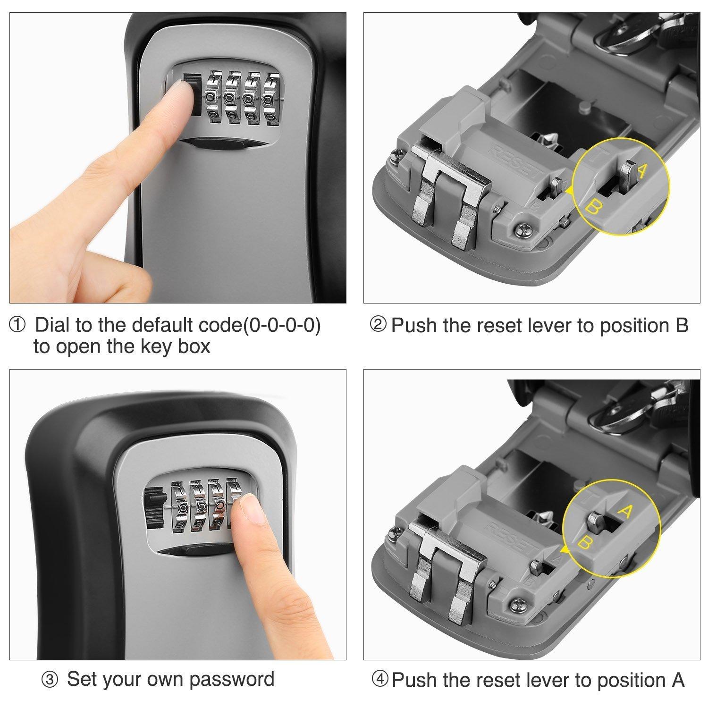 Glossia Caja de cerradura con llave Cerradura de aluminio montada en la pared Caja fuerte con llave de 4 digitos Caja de cerradura con llave para almacenamiento de interiores y exterior