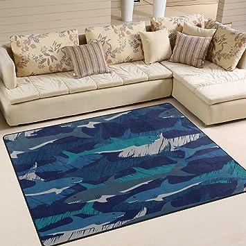 Alaza Shark Camouflage Stylish Area Rug Rugs For Living Room Bedroom 7 X