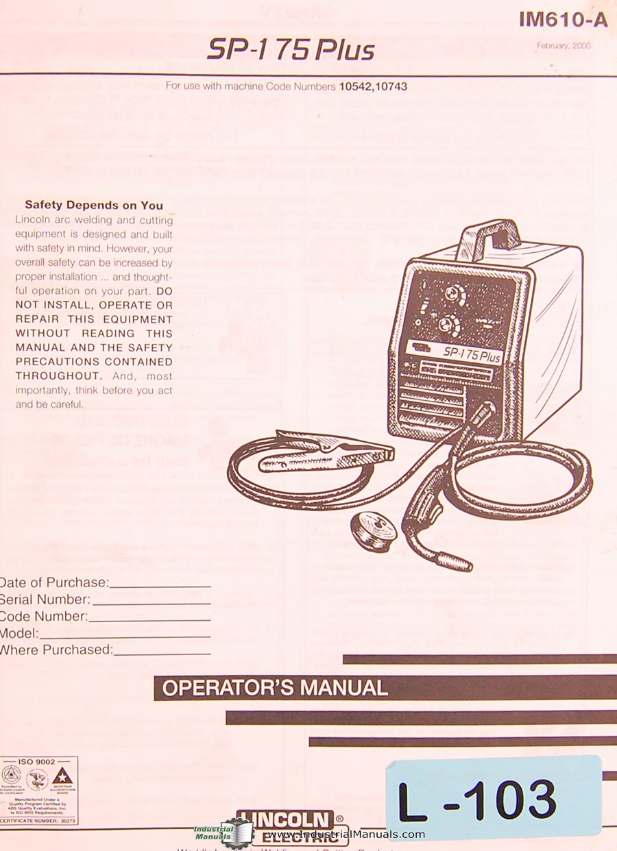 Lincoln Electric Sp 175 Plus Arc Welding Opeartors Instructions Mig Welder Parts Diagram And List Manual Books