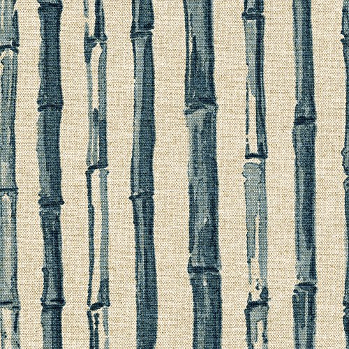 Bamboo Stripe Indigo Nature Print Blue Tailored Valance Lined Cotton Linen ()
