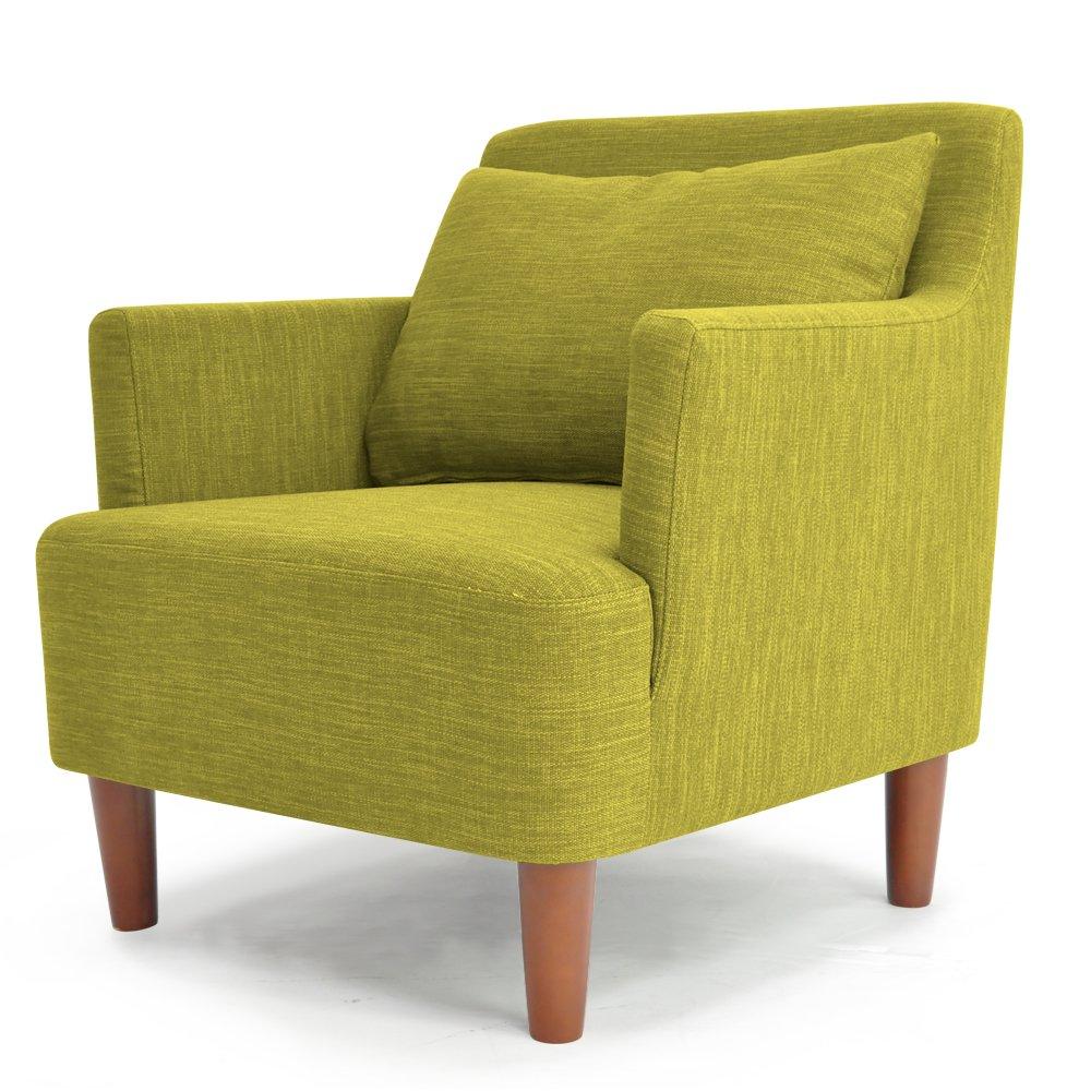 ソファ シングルソファ 北欧風デザイン 木枠ソファ 「 バレンティナ 」 一人掛け (クッション付き 布地タイプ) グリーン色 B01JFL8NYY グリーン色 1P