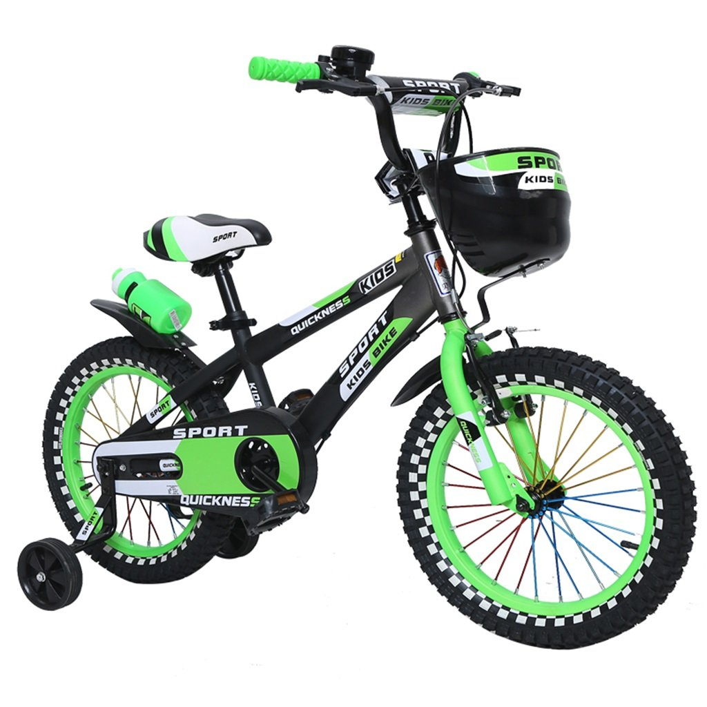 KANGR-子ども用自転車 屋外の子供の自転車色のついたホイールの設計に適した3-6-8の男の子と女の子子供の自転車のハンドルバーとサドルはトレーニングホイールで調節可能な高さにできます水筒とホルダー-12 / 14/16インチ ( 色 : 緑 , サイズ さいず : 14 inch ) B07BTWL8DZ 14 inch|緑 緑 14 inch