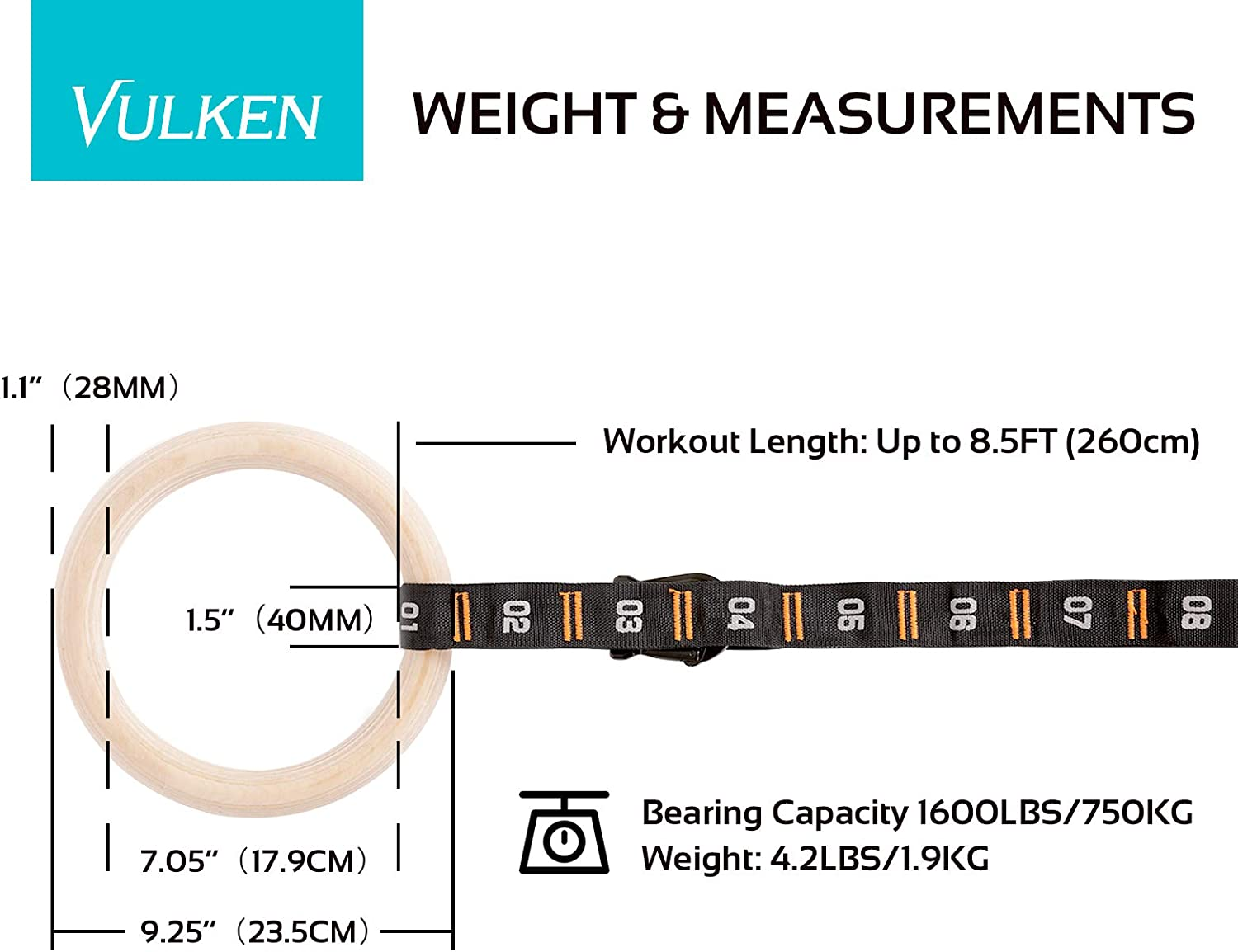 Vulken Wooden Gymnastic Rings with Adjustable Numbered Straps ...