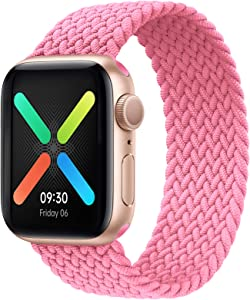 ENJINER Braided Solo Loop Elastic Strap Compatible for Apple Watch Band 38mm 40mm 42mm 44mm, Stretchy Sports Women Men Wristband with no Clasps or Buckles Compatible for iWatch Series 6/SE/5/4/3/2/1