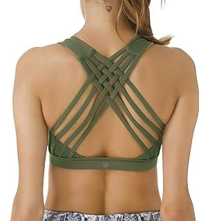7cdc01e7e6 Queenie Ke Women's Medium Support Strappy Back Energy Sport Bra Cotton Feel
