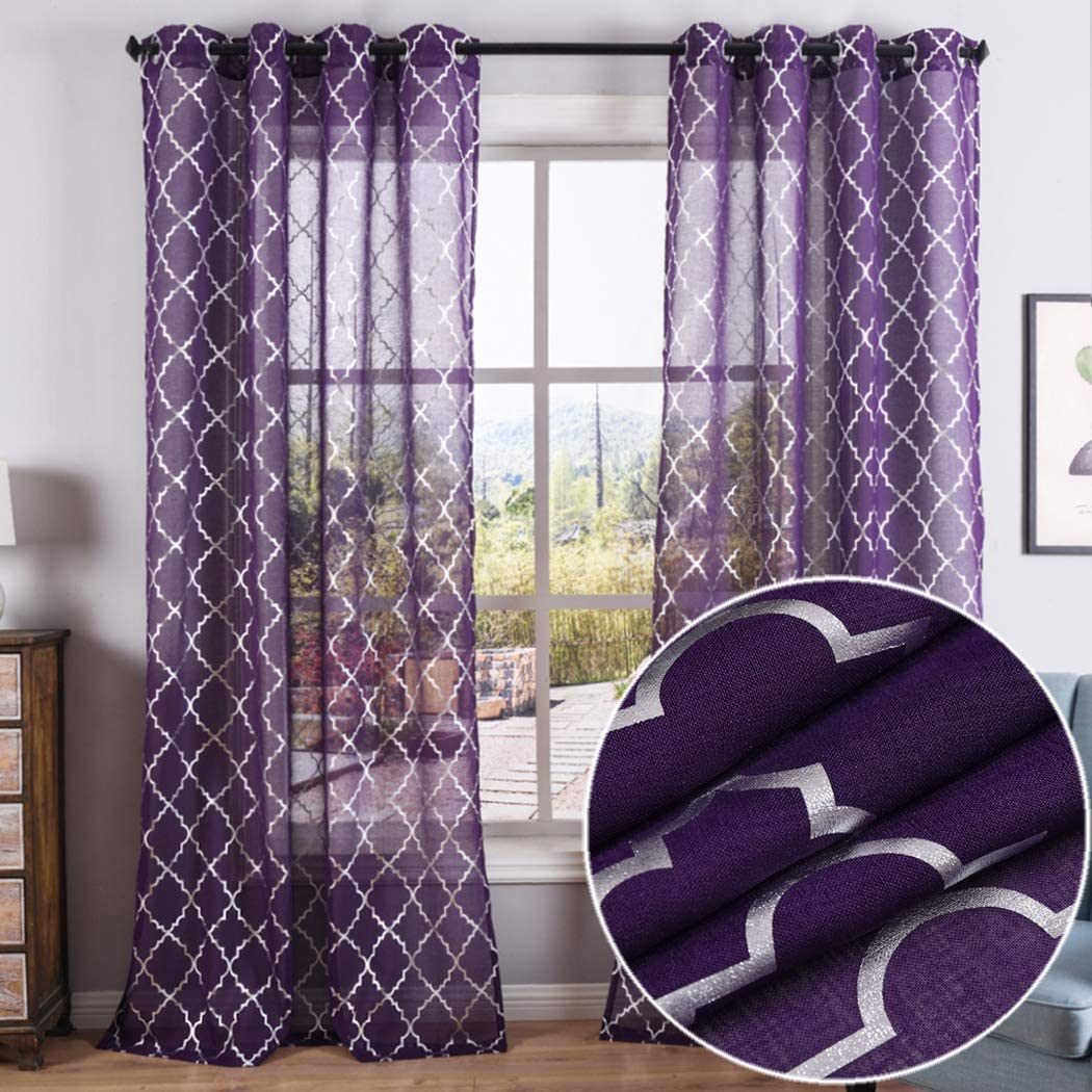 Kotile Silver Moroccan Tile Print Semi Sheer Curtains for Girls Room - Grommet Voile Drapes 2 Panels 52 x 84 Inches, Purple