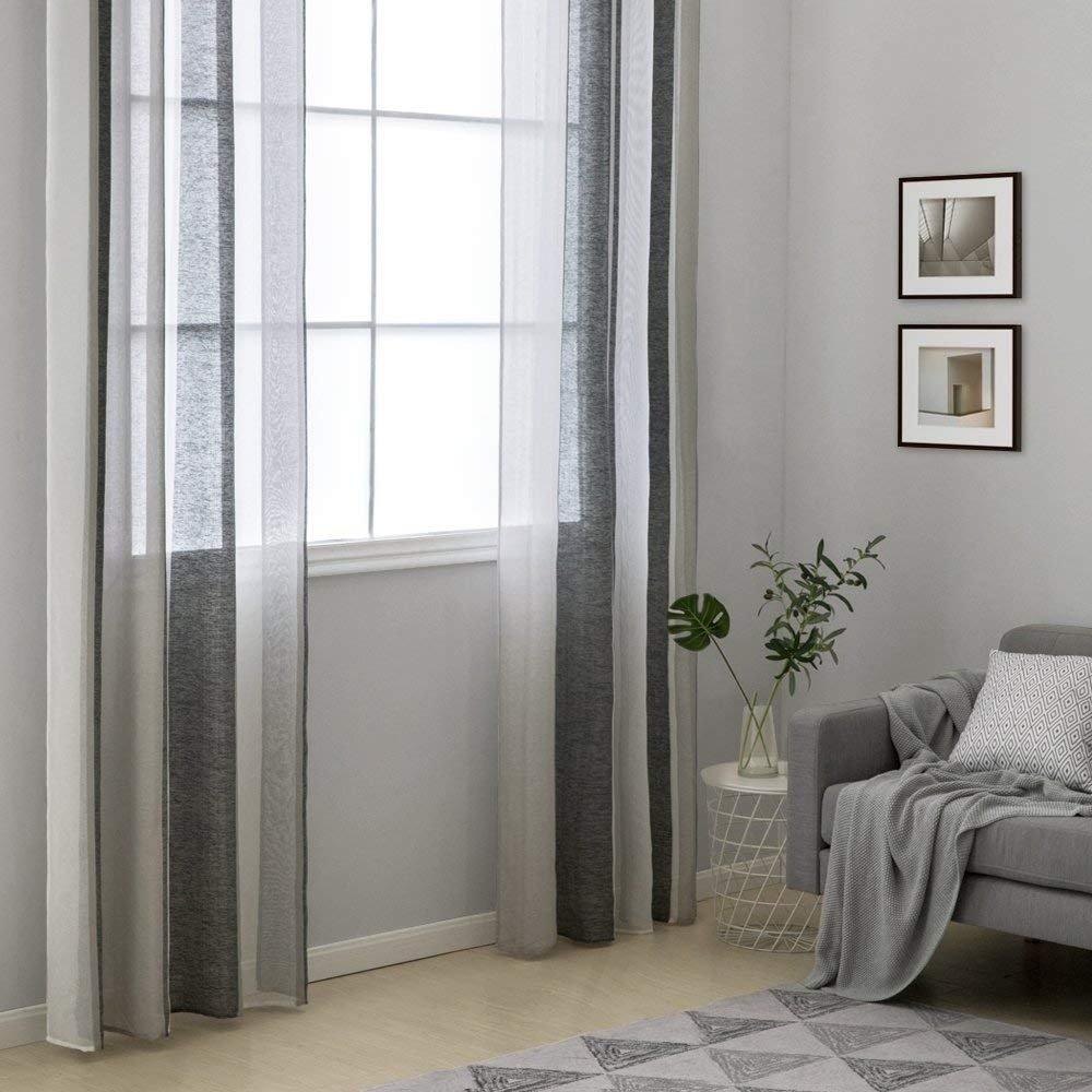38e620ea1dc Miulee Cortinas Translucida de Dormitorio Moderno Ventana Visillos Rayas  Salon Paneles con Ojales Plateados para Sala Ampliar imagen
