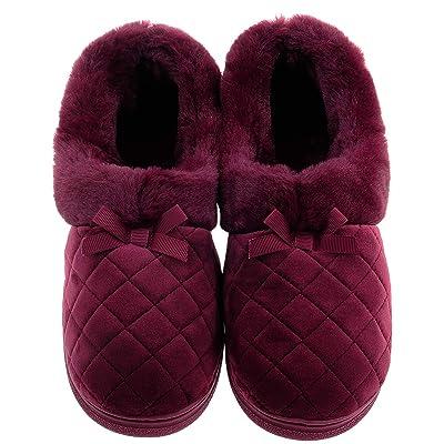 Shoeslocker Women's Warm Plush Anti-Slip Slippers: Clothing