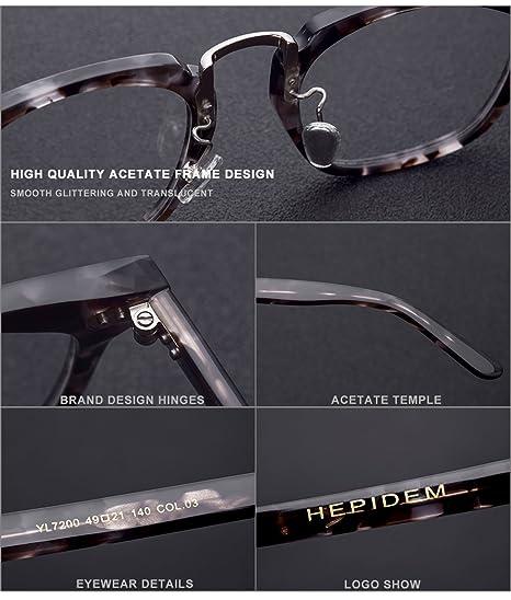 73d6e6c94f Amazon.com  HEPIDEM Acetate 2018 Men Square Myopia Glasses Frame Eyewear  Spectacles 7200 (Gray Leopard)  Clothing