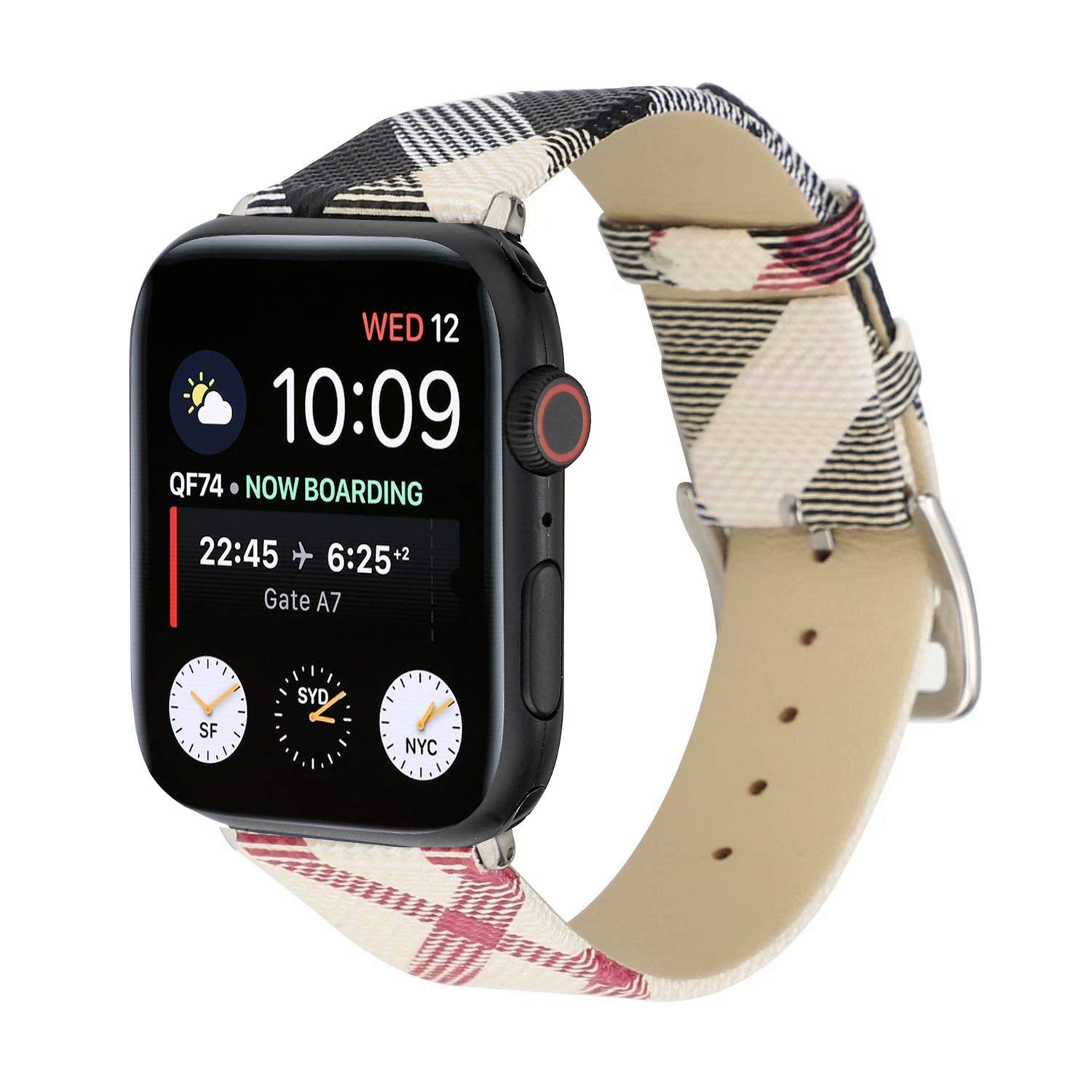 Watch Band 38mm 42mm 40mm 44mm Leather Plaid Replacement Watch Strap for iWatch Series 4 3 2 1 Nike+ by Kortusa