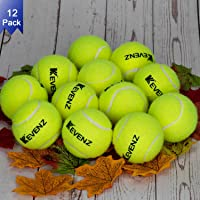 KEVENZ 12-Pack Standard Pressure Training Tennis Balls, Highly Elasticity, More Durable, Good for Beginner Training Ball