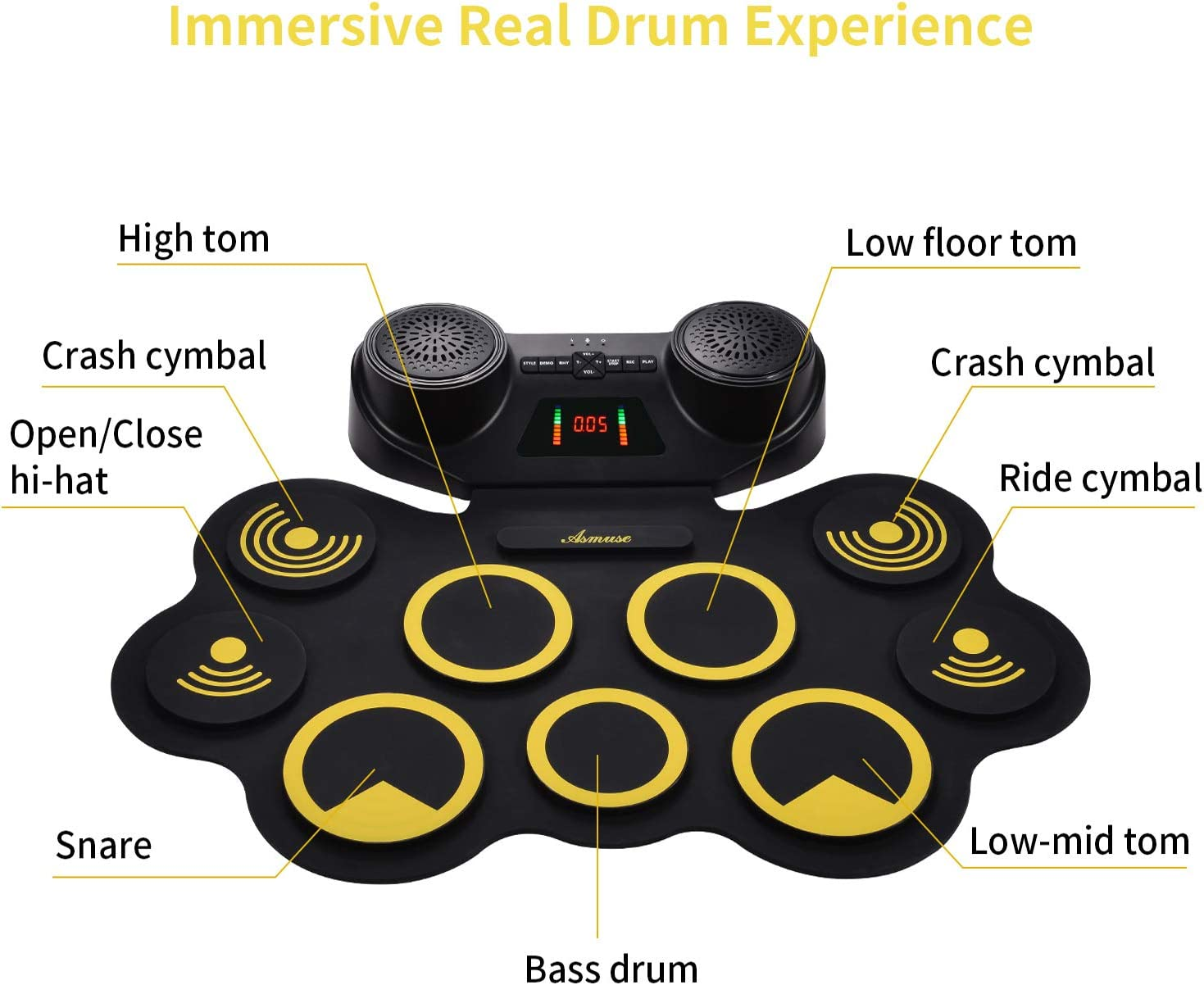 Asmuse Portable Electric Drum Set 9 Pads Built-in Dual Speaker Portable Practice Pads with Bluetooth Function Headphone Jack and Pedals