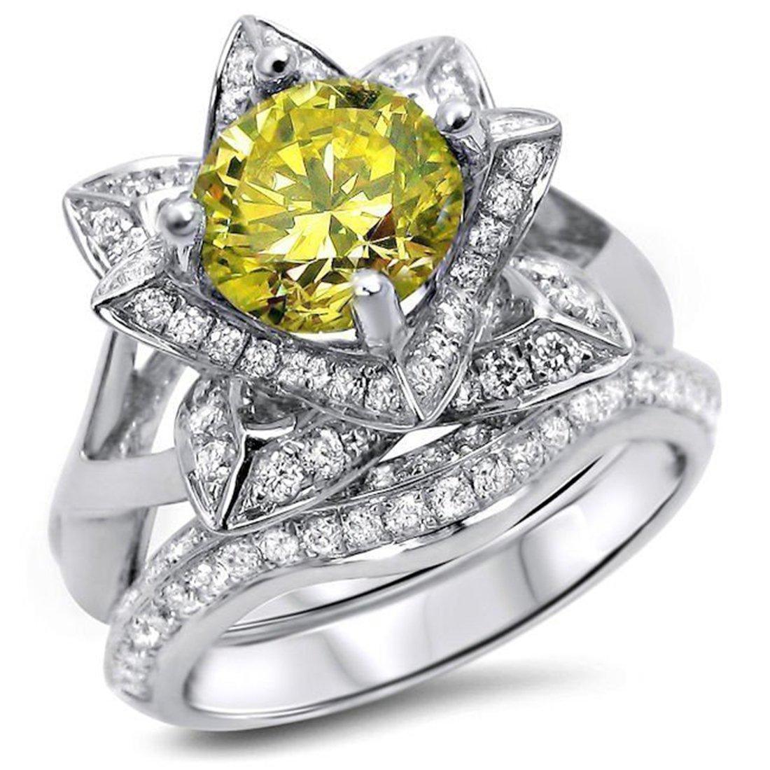 Smjewels 2.00 Ct Yellow Round Sim.Diamond Lotus Flower Engagement Ring Set 14K White Gold Fn