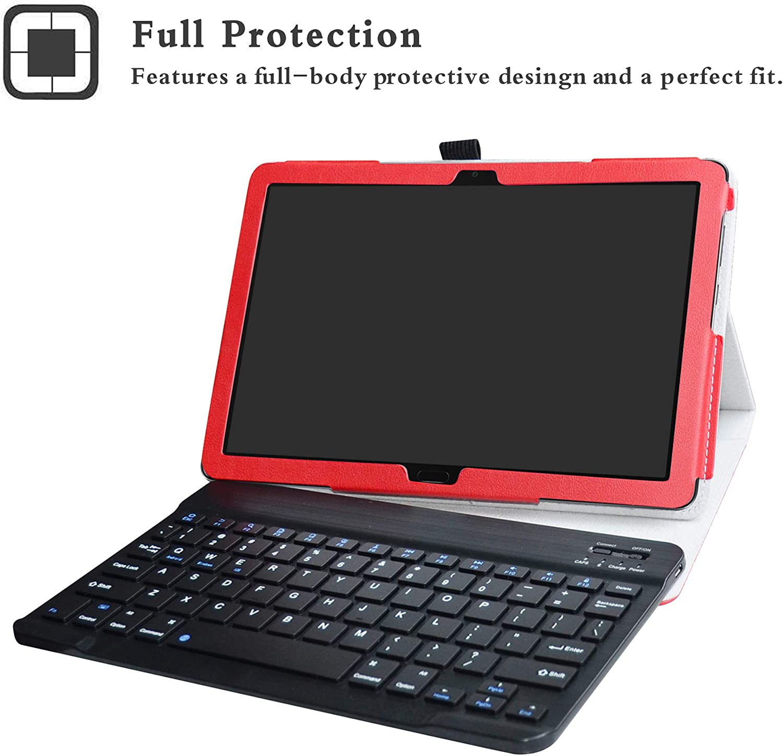 Detachable LFDZ Huawei MediaPad M5 Lite Bluetooth Teclado Funda, Bluetooth Teclado Ultra Slim PU Cuero con Soporte Caso Case Funda para 10.0 Huawei MediaPad M5 Lite 10-Inch Tablet,Rojo