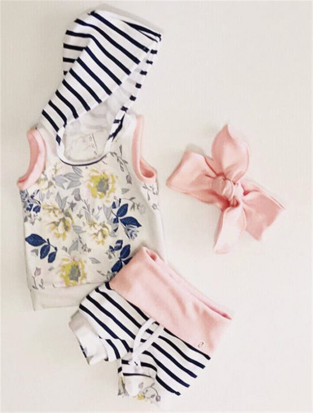 White EGELEXY Baby Kids Girls Sleeveless Hoody Vest T-Shirt+Short Striped Pants+Bow Clothes Size 12-18 Months//Tag80